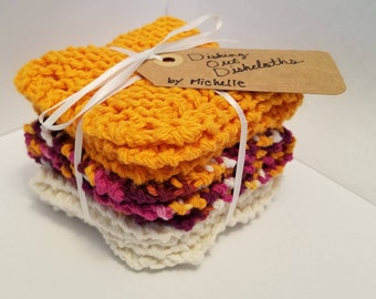Hand Knit Cotton Dishcloths - Set of Three