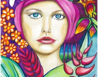 Tropical Girl – Original Inks and Coloured Pencil