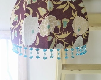 Handmade lampshade made with vintage lampshade frame and Amy Butler Gypsy Caravan fabric
