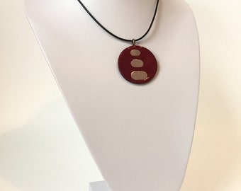 YAGO Dark Red and Lilac Beige Leather Necklace Pendant with glossy finish