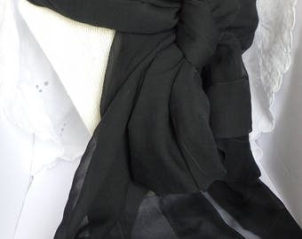 Vintage Sheer Long Black Scarf, Sheer Black Shawl