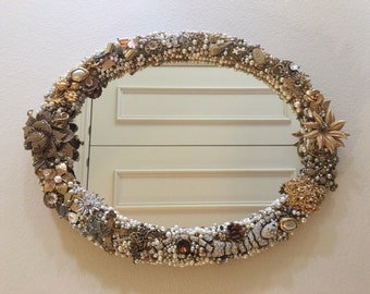 "Vintage jewelry embellished mirror, ""Grace""."