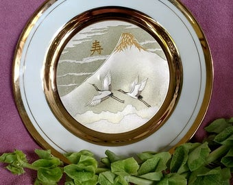 Japanese Chokin Plate with Mountain and Flying Cranes