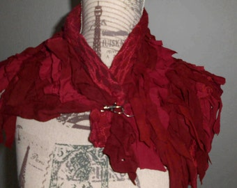 Scarf Cape red genuine leather unique handmade destroyed Gothic