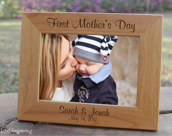 1st Mothers Day Gift First Mothers Day from Daughter Gifts for Mom Picture Frame, Mothers Day from Son, Mother Gift Personalized Photo Frame