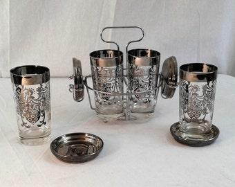 Vintage Mid Century Bar Set; Kimiko Highball Glasses, Coasters and Caddy