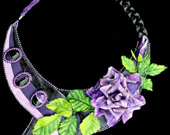 Midnight Rose - Handmade Leather necklace with rose