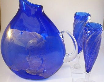 Stunning Studio Art Glass Josh Ries/R. Foster Holcombe Glass Pitcher & Flutes Cobalt/Gold Leaf