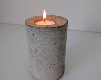 Industrial concrete tea light candle holder