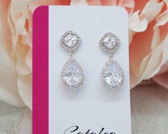 Earrings Silver Wedding jewelry crystal Wedding Bridal Jewelry