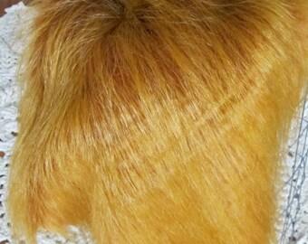 "Luxury Faux Fur Fabric 19x24"", Red Fox Faux Fur Craft, Newborn Photo Prop, Long Pile Faux Fur Prop"