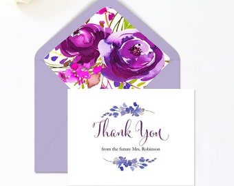 Bridal Shower Thank You Cards, Floral Thank You Card Template, Thank You Notes From the Future Mrs,  PDF Template #MCS-02