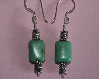 Green Chicklet Turquoise Earrings with Silvertone Accents