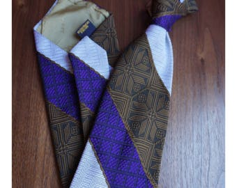 "Brown, Purple, White Diagonal Stripe 1970's Tie - ""Gant"""