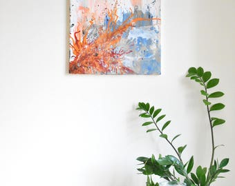 Abstract painting ' wishes & dreams', ORIGINAL, acrylic on canvas, free shipping, colorful, blue, orange