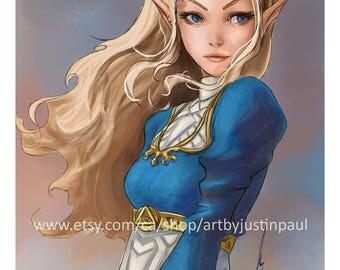 """Zelda - Legend of Zelda: Breath of the Wild 12""""x18"""" art print"""