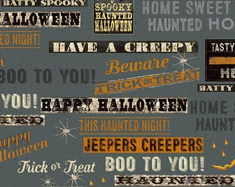 Charcoal Halloween Fabric By the Yard - Jeepers Creepers: Words Fabric - Dark Gray by Dan DiPaola for Clothworks Fabrics