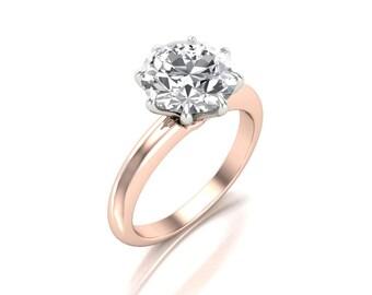 2.50 Carat Round Moissanite Engagement Ring - Forever One Moissanite Engagement Ring - Charles & Colvard 8.5mm Moissanite Solitaire Ring