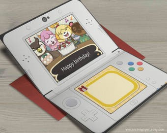 Animal Crossing New Leaf Happy Birthday Nintendo 3DS Isabelle Blathers Tom Nook Reese Gamer Nerdy Anime Video Game Greeting Card