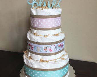 3 Tier Diaper Cake- Pink or Blue?