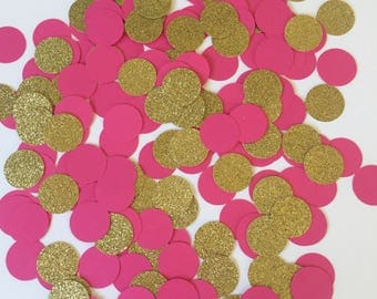 Pink and Gold Confetti, Pink Table Confetti, Party Confetti, Paper Confetti, Table Confetti, Baby Shower Confetti, Bridal Shower Confetti