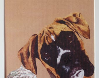 Handmade A4 mixed media Boxer Dog Portrait Print