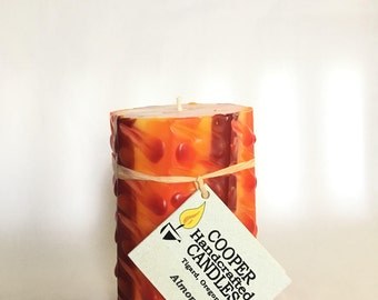 """Almond 4"""" Tall Octagon Candle Red Orange Yellow"""