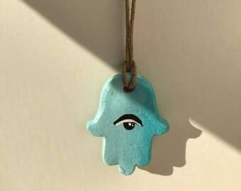 Mini Ceramic Hamsa Pendant