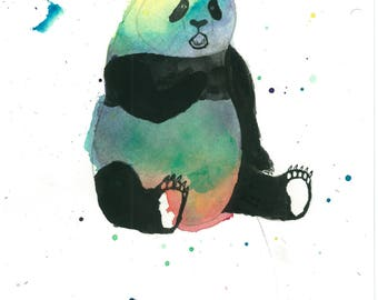 8 X 10 Panda Art Print   Wildlife Original Art   Kids Room Wall Decor   Nursery Decor   Baby Room Art   Rainbow Animal Art