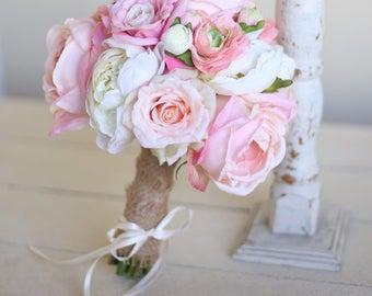 Silk Bridal Bouquet Roses Peonies Burlap Rustic Chic Decor (1013)
