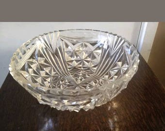 Vintage Retro cut glass trifle jelly punch bowl