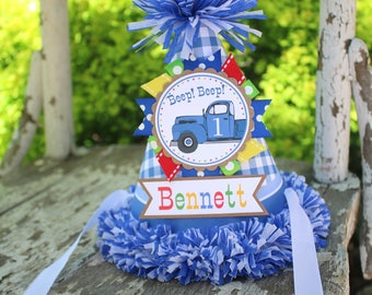 Little Blue Truck Birthday Party Hat - Little Blue Truck Birthday - Boy Birthday - Blue Truck Birthday Party Decorations