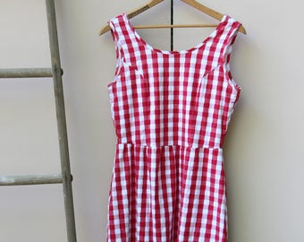 Red & White Retro Gingham Dress