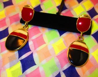 80's Tri Color Dangle Earrings