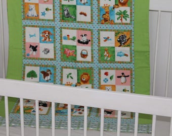 Handmade pure cotton cot quilt - 75cm x 122cm - Suitable for either Boy or Girl