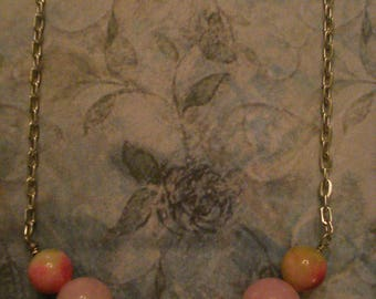 Pink Jade and Magenta & Green Apple Jade Beaded Necklace