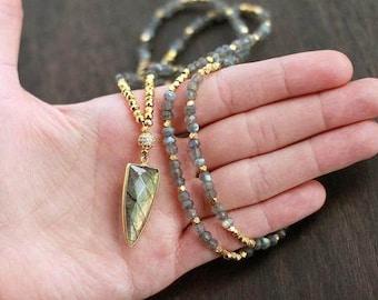 Gold Labradorite Dagger Gemstone Necklace