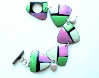 Copper Enamel Panel Bracelet, Copper Enamel Triangle Panel Bracelet