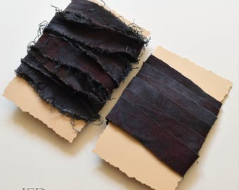 Rayon Ribbon, Hand Dyed, Frayed or Straight Cut, Purple/Black. Jewelry Making, Crafts, Fiber Projects, DIY