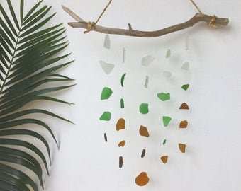 sea glass mobile/100% natural sea glass/driftwood/ocean/white/wood/green/blue/beach glass/for home/gift/housewarming/gardening/decoration