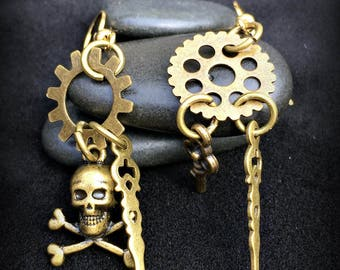 Steampunk Pirate Skull and Gear Earrings, Dangle Earrings, Gold and Silver