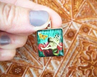 Butterfly Fairy Collage Pendant/ Scrabble Tile Pendant/ Handmade OOAK Pendant/ Vintage Illustration Necklace