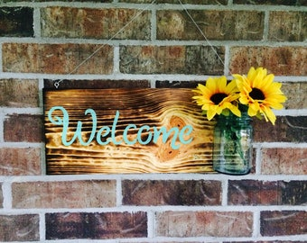Burnt Wood Welcome Sign