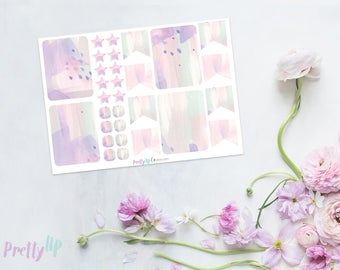 Watercolor Pastel Planner Sticker - feminine floral pink and purple