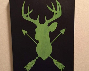 Buck silhouette- Pink and black/ Black and Green