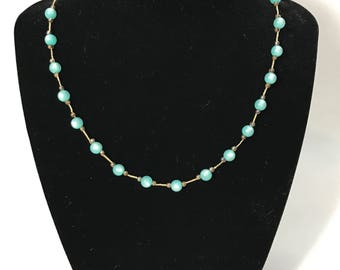 50% OFF | 1930-40's | Vintage Turquoise Colored Necklace | Screw Barrel