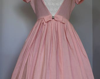 Pink & Lace Bow 1950s Party Prom Dress