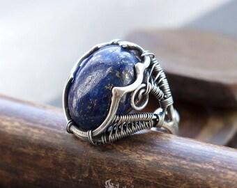 Lapis ring // Sterling Silver lapis ring // Lapis jewellery // Boho blue lapis ring // Gypsy boho sterling 925 silver blue gemstone ring