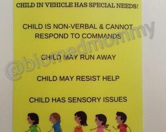 """Special Needs Alert MAGNET 4 1/4"""" x 3"""""""