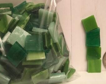 """Mosaic Tiles- Greens- 1/2 Pound- 1/2"""" Various Sizes"""